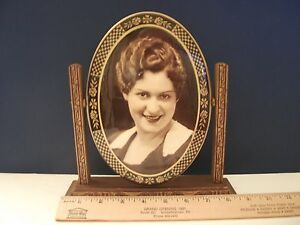 Antique Standing Picture Frame Wood Freestanding Swivel Art Deco Mirrored Back