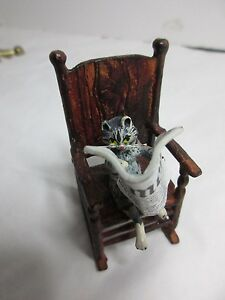 Austrian Bronze Cat Sitting On A Rocking Chair Reading A Newspaper