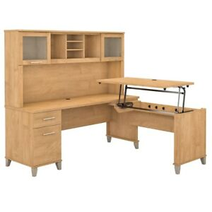 Somerset 72w Sit To Stand L Shaped Desk With Hutch In Maple Cross