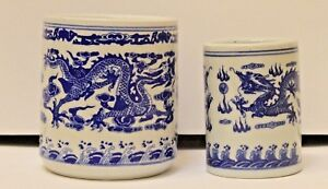 Blue And White Porcelain Chinese Dragon Brush Pots 2 Free Ship Us