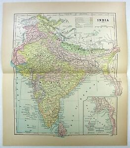 Original 1905 Map Of India By Fisk Co