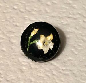 Vintage Painted Intaglio Flower 2 Piece Glass Diminutive Button