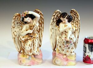 Antique Old Paris Porcelain Pair Jacob Petit French Angel Figures Garniture