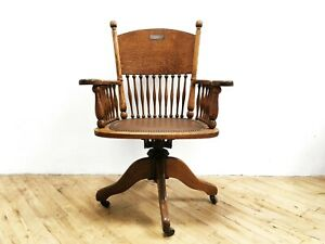 English Edwardian Oak Swivel Chair Antique Lawyer Tiger Cast Iron Office Library