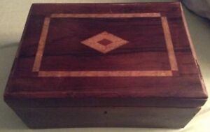 Vintage Wood Box W Different Wood Color Inlay Hinged No Key Edges Distressed