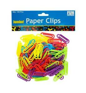 144 pc Jumbo Colored Plastic Paper Clips id 3785401