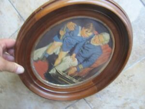 Very Large 13 Excellent 1850 Antique Antebellum Victorian Oval Walnut Frame