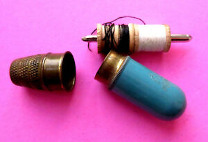 Antique Brass Blue Travel Sewing Kit Wood Spools Metal Needle Holder Thimble