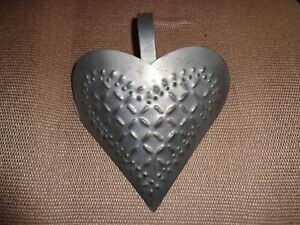 Primitive Heart Shape Tin Wall Sconce Signed Hood 88