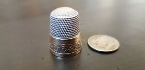 Antique Simons Bros Gold Band Sterling Silver Thimble Unique Vintage Collectable