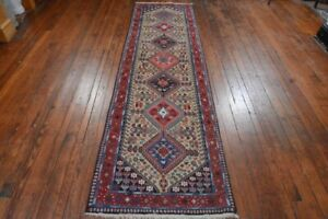 Persian Yalameh Design Runner Rug 3 X10 Beige Red All Wool Pile