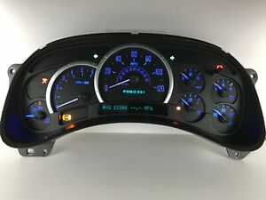 03 04 05 Escalade Speedometer Instrument Gauge Cluster With Blue Leds