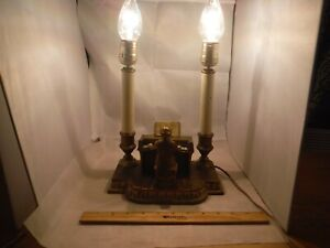 Antique Bronze Beethoven On Piano Sculpture Double Table Lamp Works