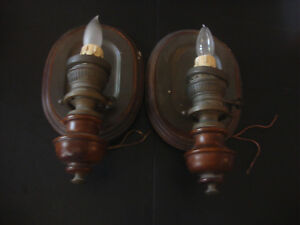Wood Metal Medieval Candle Wall Light Sconce Lamp Set