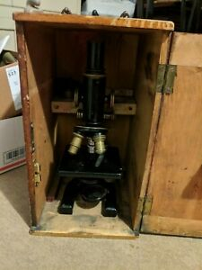 Antique Spencer Co Microscope Black Brass With Bausch And Lomb Lenses