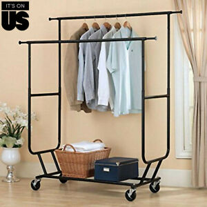 Us Heavy Duty Rail Double Adjustable Portable Clothes Hanger Rolling Collapsible