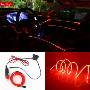 3m12v Car Led El Wire Red Cold Light Lamp Neon Lamp Interior Atmosphere Fit Audi