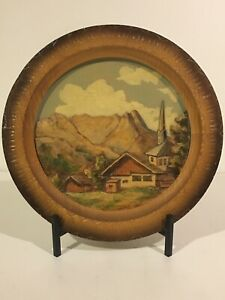 Vintage Hand Carved Wood Relief Landscape Alpine Mountain Wall Plaque 3d Plate