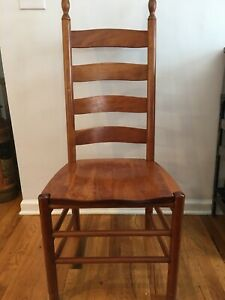 Set 6 Chairs Vintage Solid Oak Tom Seely Slat Back Chairs Natural Cherry