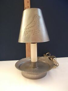 Primitive Handcrafted Punch Tin Accent Light Tin Wall Sconce