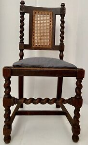 18c Antique Carved Wood Colonial Chair Jacobean Barley Twist William Mary Carver