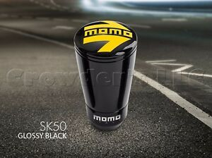 Momo Sk50 Black Aluminum Gear Shift Shifter Knob W Logo Part Skfblk New
