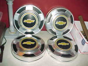 Vtg Set 4 Chevy C10 Truck Van 10 3 4 Dog Dish Hubcaps Yellow Bowtie Early Model