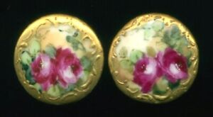 Pair Of Antique Hand Painted Porcelain Stud Buttons Roses W Gold Rococo Borders