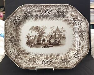 Lovely Antique Brown Transferware Platter The Bosphorus R Hall Staffordshire