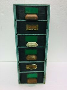 Old Primitive Wood 6 Drawer Cabinet Box Farm Apothecary Tools Green Paint Store