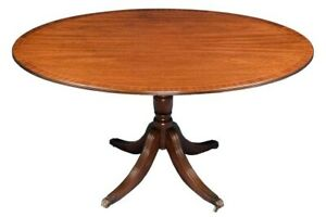 Oval Inlaid Mahogany Pedestal Dining Table English Regency