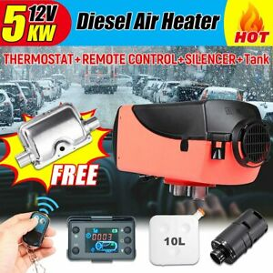 5kw 12v Remote Control Lcd 10l Tank Air Diesel Fuel Heater Suits Truck Bus Car