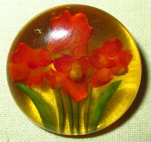 Antique Vintage Lucite Plastic Button W Reverse Carved Painted Flowers 7 8