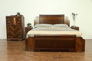 Art Deco Waterfall 1930 S Vintage King Size 4 Pc Bedroom Set 30386