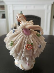 Antique Original Germany Dresden White Lace Pink Standing Ballerina 3 3 4
