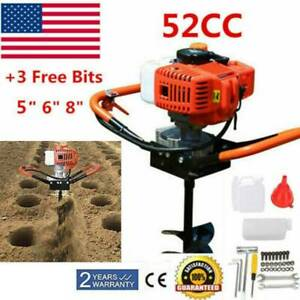 52cc Gas Powered 2 5hp Auger Post Hole Digger Auger Fence Ground Drill 3 Bits Us