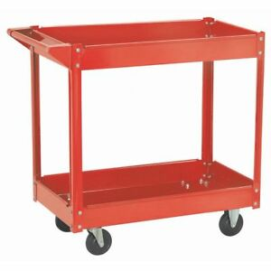 Rolling Red Heavy Duty Utility Metal Cart 2 Shelves Service Garage Push Hand New