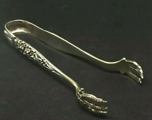 Antique Sterling Silver Shiebler Flora Forget Me Not Sugar Tongs 5