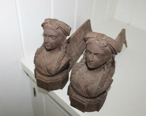 French Antique Andirons Pair Of Cast Iron Women Firedogs French Decor