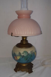 Antique Victorian Hand Painted Oil Parlor Lamp Electrified Beautiful