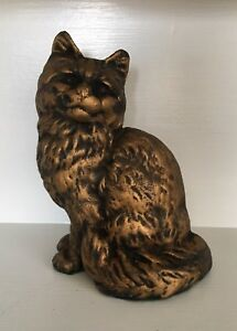Vintage Hubley Cat Doorstop Cast Iron Cat 8 3 4 Tall Persian Cat