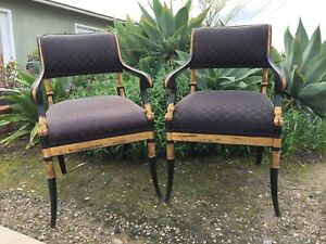 Fantastic Pair Classic Regency Styled Arm Chairs Black Lacquer Gold Gilded