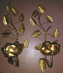 Vintage Gold Gilt Italian Metal Tole Roses Wall Sconces A Pair