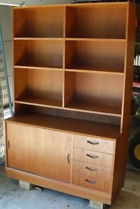 Vintage Mid Century Danish Modern Teak Bookcase With Cabinet And Drawers Mcm