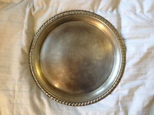 Vintage Serving Tray Platter By Leonard Round Silver Plated Engraved 12 1 4 D