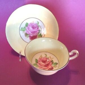 Rosina Pedestal Tea Cup And Saucer Yellow With Pink And Red Roses England