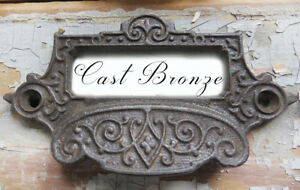 Antique Ornate Cast Bronze Not Iron Apothecary Bin Pull W Label Card Holder