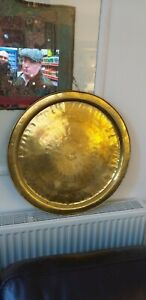 Vintage Asian Or Persian Large Brass Tray Table Top 23 Diameter