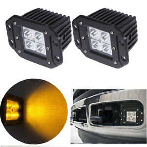 2x 5inch Amber Square Led Cube Pods Work Light Flush Mount Spot Fog Offroad Jeep