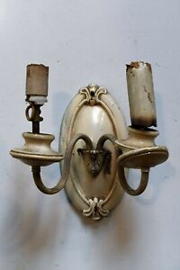 Antique Two Candle Stamped Brass Sconce